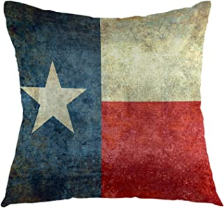 oFloral Texas Flag Throw Pillow Cover American Flag Decorative Pillow Case Square Cushion Covers Home Decor for Couch Sofa Livingroom Bedroom 18 x 18 Inch Pillowcase