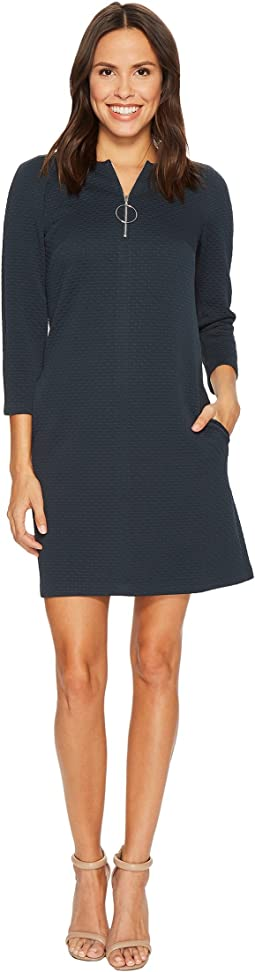 Donna Morgan - 3/4 Sleeve Novelty Knit Shift w/ Front Zip & Hardware Detail