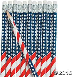 Fun Express USA American Flag Pencils | (48 Count) | July 4 & Independence Day Party Favors