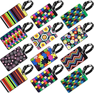 12 Pack Luggage Tags, SENHAI Travel Suitcase Baggage Labels ID Tags Business Card Holder - Colorful