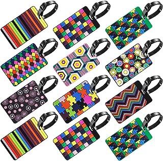 Paquete de 12 Etiquetas de Equipaje, SENHAI Etiquetas para Maletas Identificador de Maletas para Bolsa de Viaje o Maleta o Mochilas- Variedad de Colores