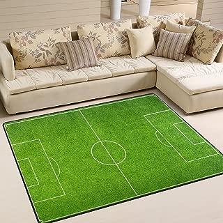 ALAZA Soccer Green Football Stadium Area Rug Rugs Mat for Living Room Bedroom 7'x5'