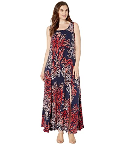 MICHAEL Michael Kors Plus Size Tahitian Reef Maxi Tank Dress (True Navy/Sea Coral) Women