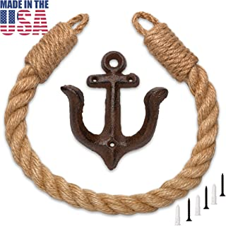 Nautical Bathroom Decor, Toilet Paper Holder – 22 in. Coastal Rope Secures Two Ply Roll, Towel or Shower Curtain, Anchor Shaped Wall Mount, USA Made by Twenty Four Ten Home Gear