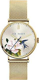 Ted Baker Men's TOMCOLL Stainless Steel Quartz Watch with Leather Calfskin Strap