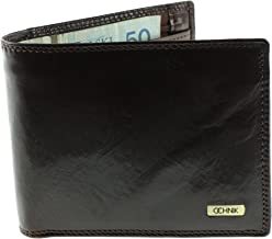 Ochnik Men's Genuine Leather Tri-fold Wallet with 1 ID Card Window