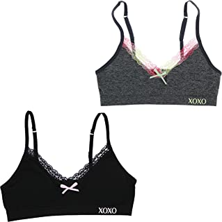 XOXO Girl Training Bra Set with Removable Pads, Lace Trim (2 Bras)
