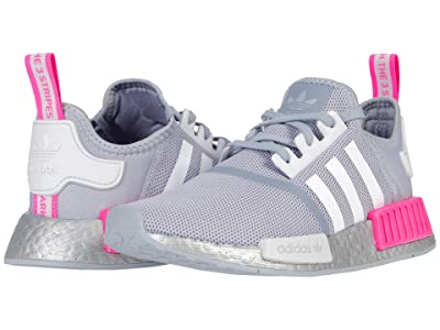 adidas Originals Kids NMD_R1 J (Big Kid) (Halo Silver/White/Screaming Pink) Kids Shoes