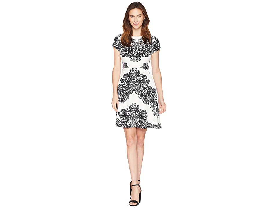 Adrianna Papell Lace Printed Fit Flare Dress (Ivory/Black) Women