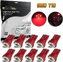 Partsam 10PCS T10 Wedge 12V Gauge Cluster LED Light Instrument Panel Gauge Cluster Speedometer Indicator Lamp Bulbs, Red