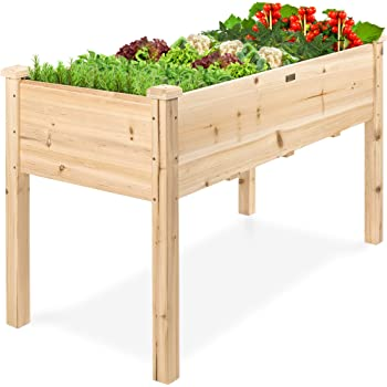 Amazon Com Best Choice Products Raised Garden Bed 48x24x30 Inch Elevated Wood Planter Box Stand For Backyard Patio Natural Garden Outdoor