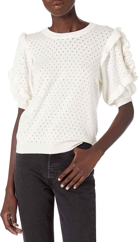 Ella Moss Women's Eveline Rulffle Trim Sleeve Sweater Top