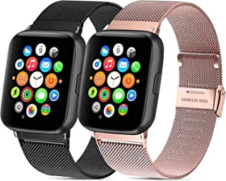 Mugust - Lote de 2 pulseras para Apple Watch (38 mm, 40 mm, 42 mm, 44 mm, acero inoxidable, repuesto compatible con iWatch...