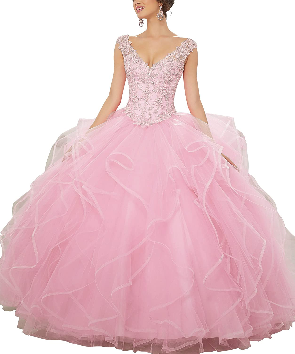 JQLD Ruffles Tulle Ball Gown Quinceanera Dresses Beaded V Neck Long Prom Gown Formal Pink US12