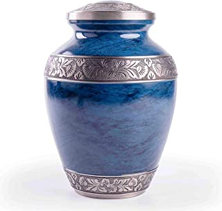 GSM Brands Cremation Urn for Adult Human Ashes - Large Handcrafted Funeral Memorial with Striking Blue Design (Brass - 10 Inch Height x 7 Inch Width)