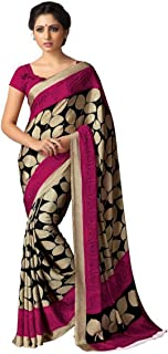 Jaanvi fashion Designer Italian Crepe Printed Saree with BlouseWith Unstitched Blouse