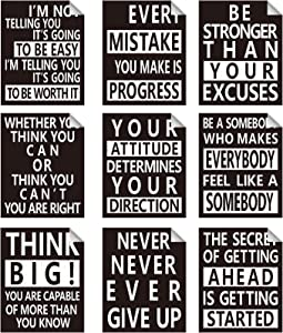 9 Pieces Inspirational Wall Decals Spiritual Motivational Wall Stickers Positive Quotes Sayings Phrases Decals for Library Home School Office Wall Art Decorations, 8 x 10 Inches