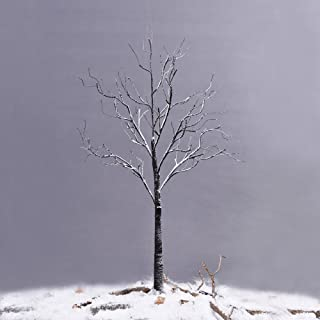 Ecolinear Prelit Snow Tree 48 LEDs Light Silver Twig Warm White White Branches (4 Feet) Home Festival Party Christmas Indoor and Outdoor Use