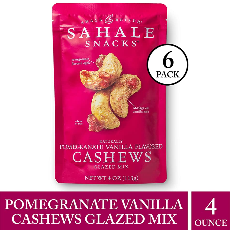 Sahale Snacks Pomegranate Vanilla Flavored Cashews Glazed Mix, 4 oz., Pack of 6 – Resealable Pouch, Nut Snacks with No Artificial Flavors, Preservatives or Colors, Gluten-Free Snacks