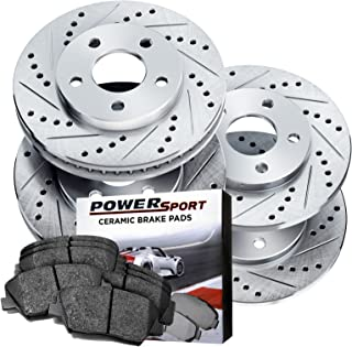 Power Sport Cross Drilled Slotted Brake Rotors and Ceramic Brake Pads Kit -80775 [Front & Rear]