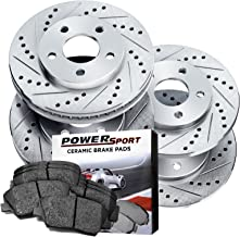 Power Sport Cross Drilled Slotted Brake Rotors and Ceramic Brake Pads Kit -81056 [Front & Rear]