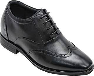 CALTO Men's Invisible Height Increasing Elevator Shoes - Black Leather Lace-up Brogue Wing-tip Oxfords - 3.2 Inches Taller...