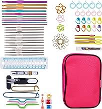 K Kwokker 100 x Crochet Hook Set w/Aluminum Handle Knitting Needles, Weave Yarn Hooks, Stitch Marker, Gauge, Scissor, Ergonomic Sewing Tools Kit with Pink Case for Handicrafts Crocheted Fabrics House