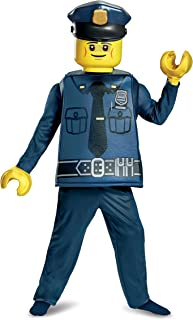 Disguise Lego Police Officer Deluxe Costume, Blue, Small (4-6)