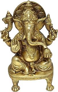 Hindu God Sculptures Sitting Statue of Ganesha Handmade Brass Figurine