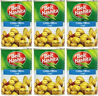 Beit Hashita Green Olives Large, 19.7oz Can (Pack of 6, Total of 118.2 Oz)