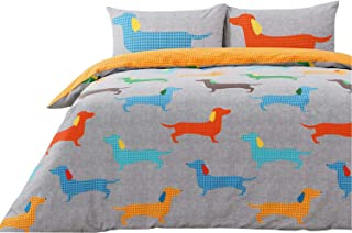 Houndstooth Dachshund Sausage Dogs Grey Orange Usa Queen Size (230cm X 220cm - Uk King Size) Duvet Comforter Cover