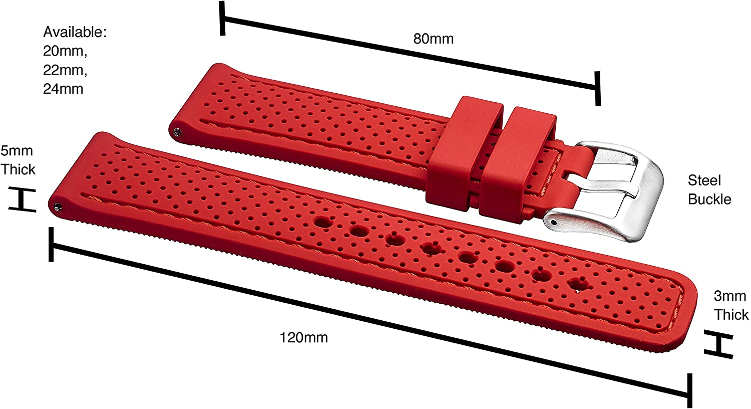 Premium Quality Sporty Silicone Waterproof Watch Band with Quick Release - Soft Rubber Watch Strap - Assroted Colors - 20MM, 22mm and 24mm