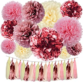 Cuterui Rose Gold Party Decorations 32 Pieces Metallic Rose Gold Foil Tissue Paper Pom Poms Paper Flowers and Tissue Paper Tassels for Baby Shower Decorations for Girl Birthday Party Decorations