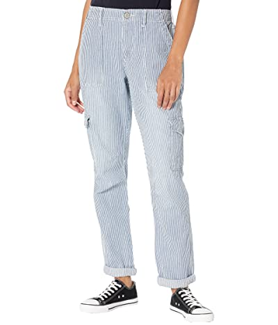 Dickies Juniors Factory Roll Cuff Cargo Pants w/ Elastic Back Waist Hickory Stripe Relaxed Fit