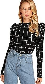 Romwe Women's Elegant Puff Sleeve Mock Neck Grid Print Top Blouse