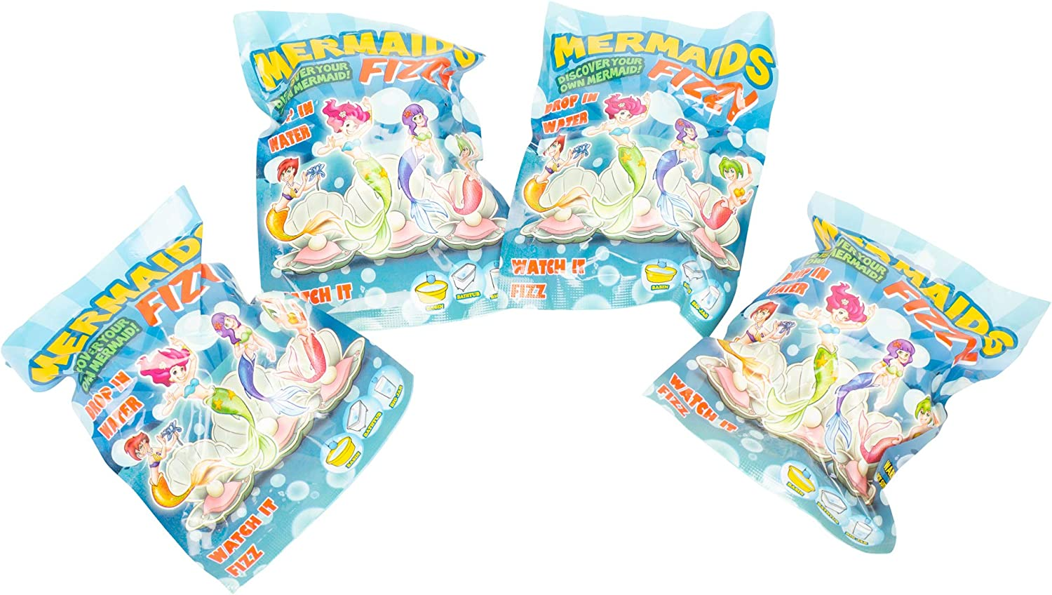 Gift Craft Mermaid Magic Surprise Fizzing Seashell Novelty Toy Pack of 4