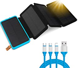 Solar Power Bank Portable Charger, 25000mAh, Ultra-Fast 4-Panel Charging Station with Dual USB 2.1A Ports, Travel Battery Pack for Smartphones or Tablets, Waterproof. Free Bonus! 3 in 1 USB Cable