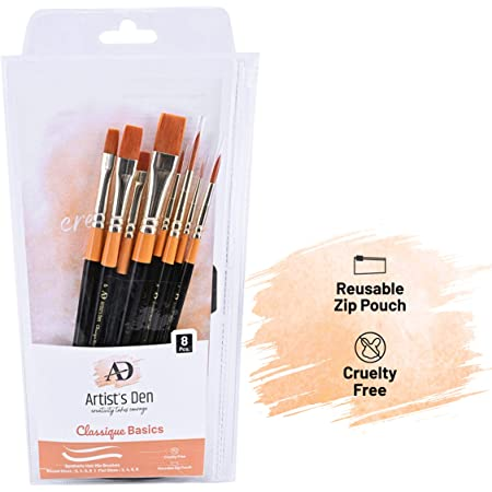 Artist's Den Synthetic Hair Mix Brushes Set for Acrylic, Watercolor, Gouache & Oil Painting (Set of 8 Mix)