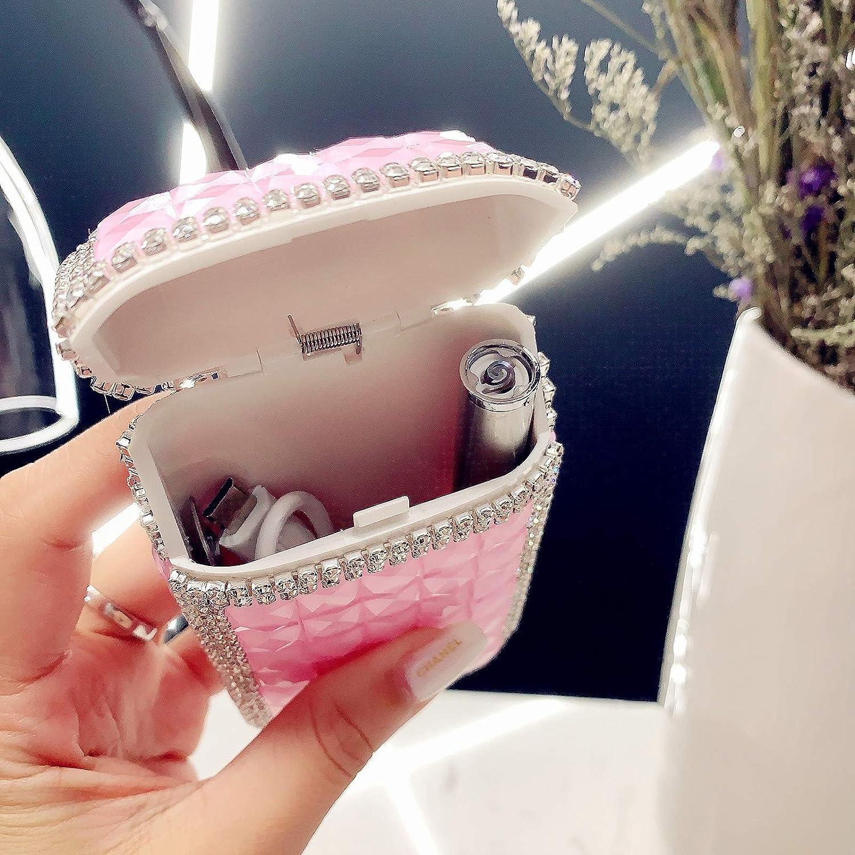 Portasigarette di Lusso in Cristallo con Strass Glitterato HEKQ Porta Sigarette per Le Donne con Accendino Elettrico Ricaricabile USB Premere per Aprire La Scatola delle Sigarette,H