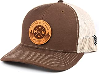 Branded Bills Minnesota 'The North Star' Leather Patch Hat Curved Trucker- OSFA/Brown/Tan