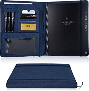 Folio Cover for Rocketbook Everlast Fusion - Letter Size, Multi Organizer with Pen Loop, Business Card Holder, Zipper Pocket Support Mini Size Rocketbook, Waterproof Fabric, 11 x 9 inch, Blue