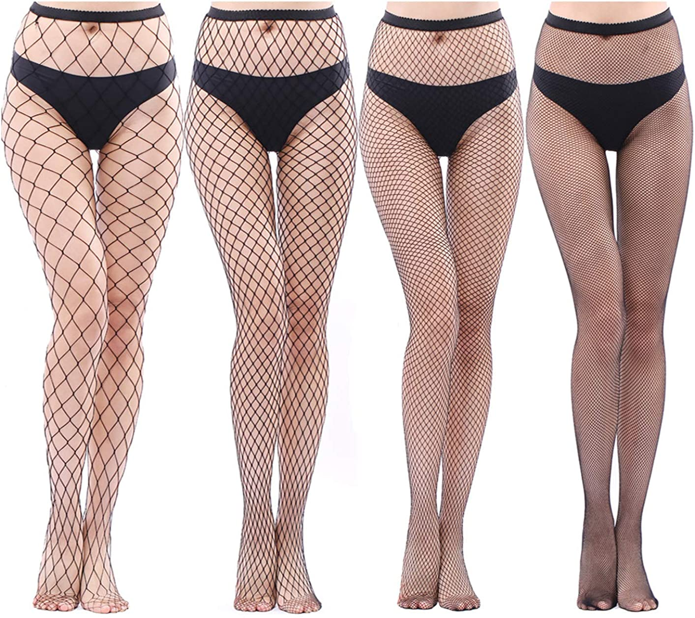 FITU Womens High Waist Patterned Fishnet Tights Suspenders Pantyhose Thigh High Stockings Black