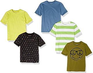 Amazon Essentials T- Shirt à Manches Courtes Garçon, Lot de 5