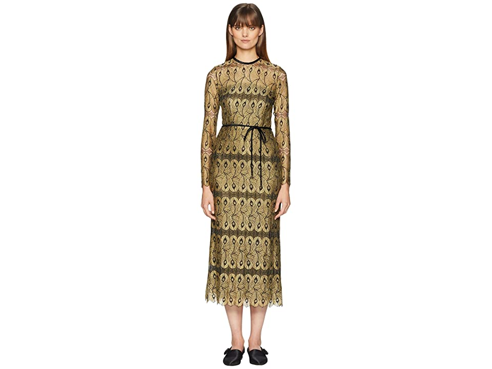 YIGAL AZROUEL Peacock Lace Dress with Open Back (Jet Multi) Women