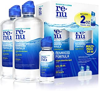 Contact Lens Solution by Renu, Multi-Purpose Disinfectant, Advanced Formula Kills 99.9% of Germs, 16 Fl Oz (Pack of 2), Includes 2 Fl Oz Travel Size