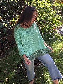 Jersey verde con jacquard, oversize, hecho a mano para mujer, talla única