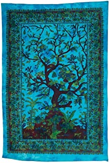 Popular Handicrafts Hippie Kaleidoscopic Tree of Life Intricate Floral Design Indian Bedspread Tapestry 54x84 Inches,(140cmsx215cms) Turquoise