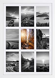Golden State Art, 13.6x19.7 White Wood Collage Frame, for (9) 4x6 with Real Glass and White Mat