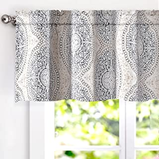 DriftAway Adrianne Damask and Floral Pattern Window Curtain Valance 52 Inch by 18 Inch Beige and Gray