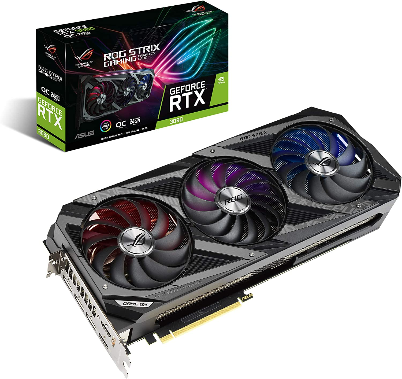 ASUS ROG Strix NVIDIA GeForce RTX 3090 OC Edition 24GB GDDR6X - Tarjeta gráfica (PCIe 4.0, HDMI 2.1, DisplayPort 1.4a, Ventiladores Axial-Tech, diseño 2,9 Ranuras, Super Alloy Power II, GPU Tweak II)